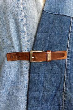 Paganoonoo: Upcycled Boro Style Jean Jacket #2 - belt closure Paganoonoo upcycling instructions available! www.etsy.com/shop/paganoonoo