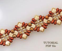 Beaded bracelet pattern, Seed pearls bracelet beading tutorial, Wibeduo beading simple bracelet tutorial , two hole bead pattern Rhombus pdf Bead Embroidery Patterns, Beaded Bracelet Patterns, Bead Loom Patterns, Beaded Embroidery, Beading Patterns, Beaded Bracelets, Embroidery Bracelets, Bracelet Designs, Knitting Patterns