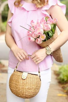 Pink and White Stripes - Prep Avenue Prep Style, My Style, Pink And White Stripes, Pink Tulips, A 17, Spring Colors, Spring Summer Fashion, Patagonia, Celebrity Style