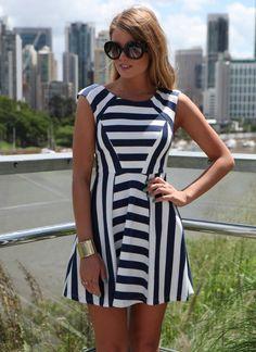 Navy & White Stripe Skater Dress