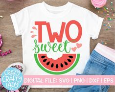 Two Sweet SVG Cut File – Crazy Crafty Lady Co. Compatible with vinyl cutting machines such as Cricut and Silhouette Cameo! Great for DIY craft projects such as watermelon birthday shirts, summer party decor, second birthday photo props, and more! 2 Year Old Birthday Party Girl, 2nd Birthday Shirt, Girls Birthday Party Themes, Birthday Ideas, Diy Birthday, Birthday Quotes, Birthday Cards, Summer Party Quotes, Silhouette Cameo