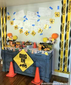 Construction Birthday Party - Construction party decoration and construction party food - events to CELEBRATE! 3rd Birthday Party For Boy, Tractor Birthday, Second Birthday Ideas, Third Birthday, Birthday Party Decorations, Birthday Centerpieces, Birthday Banners, Farm Birthday, Birthday Invitations