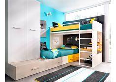 Habitación Infantil: Dormitorio Infantil con Literas 203-3072015 | Dispone de una Litera Block izquierda con base de Tarima para colchón de 90 x 190 + cama módular c