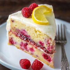 How light and beautiful is this Lemon Raspberry Cake?