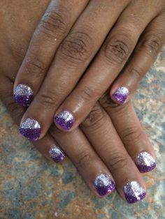 Lavender and Purple Rock Star Nails