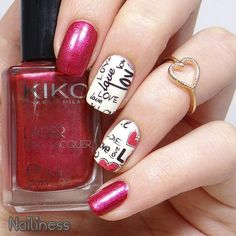 Uñas diseño love - Love nails, red and white