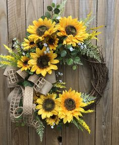 Spring Front Door Wreaths, Fall Wreaths, Spring Door, Farmhouse Fall Wreath, Cheer Up Gifts, Sunflower Arrangements, Sunflower Wreaths, Floral Wreaths, How To Make Wreaths