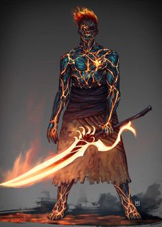 Carbonized guy by blackhood-art dnd characters, fantasy characters, fictional characters, fire Dark Fantasy Art, Anime Art Fantasy, Fantasy Rpg, Fantasy Artwork, Fantasy Katana, Fantasy Character Design, Character Design Inspiration, Character Concept, Character Art