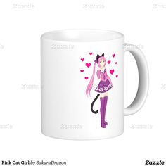 Pink Cat Girl Classic White Coffee Mug #anime #manga #pink #cat #heart