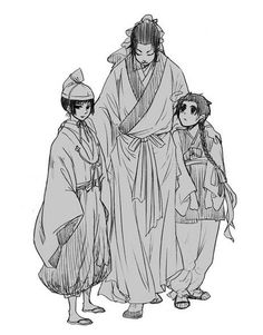 Yao with young Kiku and Yong-Soo - Artist unknown