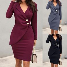 Turn Down Collar Long Sleeve Buttons Bodycon Midi Dress Office Dresses For Women, Casual Work Dresses, Formal Dresses With Sleeves, Dresses For Work, Work Outfits, Denim Dresses, Ladies Work Dresses, Dress Formal, Office Wear For Women