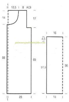 Patrones y moldes de sacón crochet de dama | Crochet y dos agujas