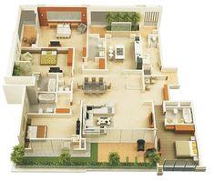 Denah Rumah Minimalis 4 Kamar Tidur 3D