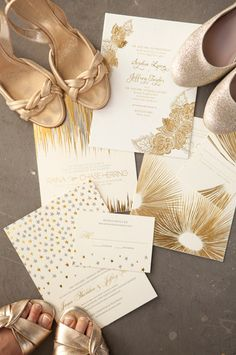White and Gold Wedding. gold stationery