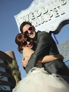 just married at downtown Vegas wedding chapel