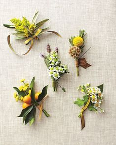 Pretty yellow buttonholes/ boutonnieres / bouts love the craspedia (billy balls) and scabious, and the (chamomile) daisys