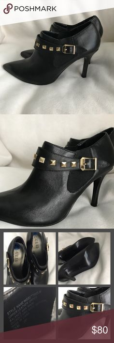 40c31a36a80 Guess Black Leather Booties ❗️PRICE FIRM❗ ◾️Guess Ankle Booties◾️Genuine  black leather with gold studs◾️New with tags◾️heel 3 Guess Shoes Ankle ...