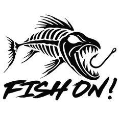 Boat Decals, Vinyl Decals, Kayak Decals, Stencil Art, Star Stencil, Stenciling, Fish Skeleton, Fish Silhouette, Fish Graphic