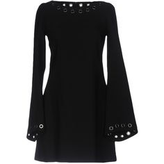 Plein Sud Short Dress (2,490 MYR) ❤ liked on Polyvore featuring dresses, black, short jersey dress, long sleeve stretch dress, long sleeve dress, stretch dresses and long sleeve jersey dress