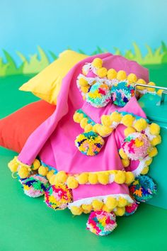It's not a beach party until the pom poms show up.
