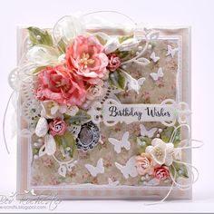 Floral Birthday Wishes (All the things I love) Greeting Card Video, Hand Made Greeting Cards, Greeting Cards Handmade, Card Making Inspiration, Making Ideas, Happy Birthday Cards, Birthday Wishes, Card Creator, Shabby Chic Cards