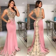 mermaid pink evening dresses long sleeveless lace appliqué beaded elegant evening gown 2020 formal dress Source by tovowuhau styles chart body shapes Pink Formal Dresses, Cheap Prom Dresses, Prom Party Dresses, Party Gowns, Sexy Dresses, Fashion Dresses, Dress Party, Wedding Dresses, Pink Evening Dress