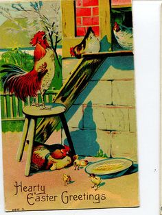 Happy Easter Vintage Postcard Easter Chicks by sharonfostervintage, $3.25
