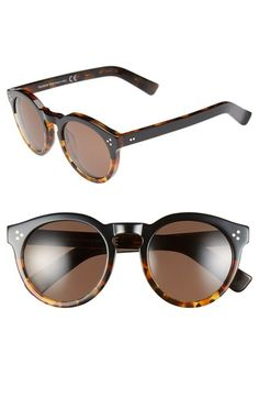 Free shipping and returns on Illesteva 'Leonard II' 50mm Round Sunglasses at Nordstrom.com. A rounded, retro-inspired silhouette featuring a keyhole bridge defines striking Italian-crafted sunglasses.