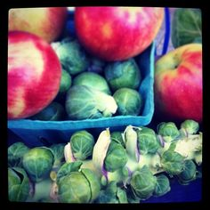 #apples and #brusselssprouts in #Manhattan! #farmersmarketnyc Tucker Square Greenmarket