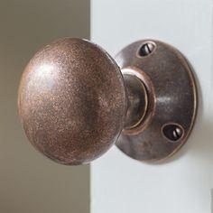 A heavy, solid door knob, beautifully hand crafted Door Knobs, Door Handles, Privacy Lock, Solid Doors, Door Furniture, Windows And Doors, Interior And Exterior, Copper, House