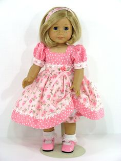 RESERVED LISTING - Includes: Handmade Doll Dress, Headband and Bloomers; Shoes and Socks Made to fit 18 inch American Girl, Madame Alexander and
