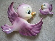 Vtg 1950 Lefton Purple Bluebird Bird Wall Plaque Pocket   eBay
