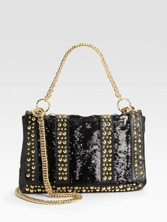 dc0a87ae5671b Brand New Halston Heritage Jet Gold Carla Studded Flap Leather Shoulder Bag