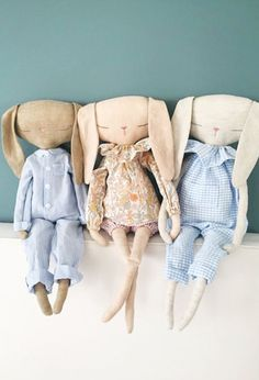 Beautiful Handmade Linen Rabbit Dolls | QuelCarrousel on Etsy