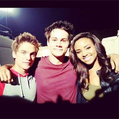 Dylan Sprayberry, Dylan O'Brien and Meagan Tandy on the set of Teen Wolf!