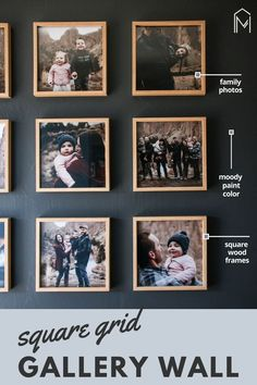 Want to know how we hung our photos in this grid pattern? Read step by step instructions on how hang your photos in a grid pattern wall gallery! Hanging Family Pictures, Get Photos Printed, Picture Wall, Photo Wall, Art From Recycled Materials, Wall Decor Crafts, Square Photos, Baskets On Wall, Custom Wall