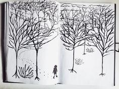 #lost #doodle #wood #winter #deadtrees #snow #walk #brushpen #sketch #river #nature