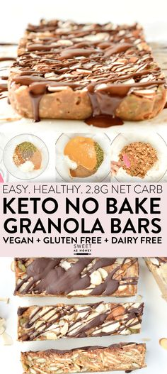GRANOLA BARS easy chewy no bake breakfast bars or healthy snacks net carbs) 100 % Low Carb + Vegan + Gluten free.KETO GRANOLA BARS easy chewy no bake breakfast bars or healthy snacks net carbs) 100 % Low Carb + Vegan + Gluten free. Low Carb Granola, No Bake Granola Bars, Vegan Granola, Keto Diet Breakfast, Breakfast Bars, Breakfast Ideas, Breakfast Cookies, Breakfast Casserole, Breakfast Recipes
