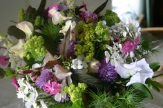 Wedding bouquet grown, cut and hand- tied at www.commonfarmflowers.com