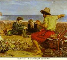 Effective Storytelling - a manual for beginners by Barry McWilliams [IMAGE: The Boyhood of Raleigh by Sir John Everett Millais, oil on canvas, A seafarer tells the young Sir Walter Raleigh and his brother the story of what happened out at sea. Dante Gabriel Rossetti, John Everett Millais, Thomas Gainsborough, William Hogarth, Walter Raleigh, Painting Prints, Art Prints, Paintings, Pre Raphaelite Brotherhood