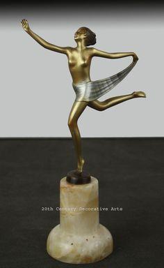 A Lorenzl Art Deco bronze scarf dancer, Vienna 1930s.