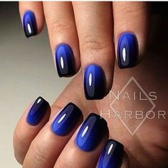 "If you're unfamiliar with nail trends and you hear the words ""coffin nails,"" what comes to mind? It's not nails with coffins drawn on them. It's long nails with a square tip, and the look has. Navy Nail Art, Navy Nails, Black Manicure, Acrylic Nails, Gel Nails, Nail Polish, Blue Shellac Nails, Blue Ombre Nails, Black And Blue Nails"
