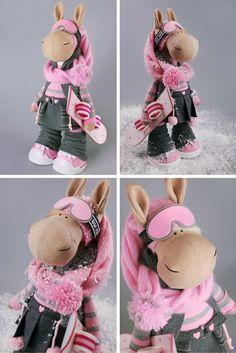 Horse doll Tilda doll Interior doll Art doll pink doll Soft doll Cloth doll Fabric doll Baby doll Nursery doll Collection doll by Alena R Child Doll, Baby Dolls, Baby Doll Nursery, Pink Doll, Reno, Digi Stamps, Soft Dolls, Cute Baby Girl, Fabric Dolls