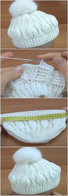 Crochet 3D Beanie Hat Leaf Stitch #CrochetBeanie
