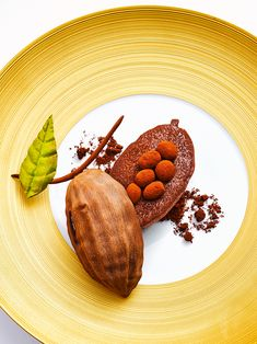 Peruvian chocolate with crunchy, iced chocolate sorbet infused with lemongrass by chef Eric Frechon. © FOUR Magazine - See more at: http://theartofplating.com/news/peruvian-chocolate-by-eric-frechon/#sthash.zsLdOwlg.dpuf