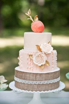 Southern Peaches & Cream Rustic Wedding Cake. Very nice.