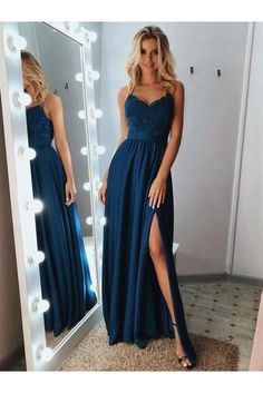 A Line Backless Lace Blue Prom Dresses with Leg Slit, Blue L.- A Line Backless Lace Blue Prom Dresses with Leg Slit, Blue Lace Formal Dresses, Lace Blue Evening Dresses - Prom Outfits, Unique Prom Dresses, Prom Dresses Blue, Pretty Dresses, Homecoming Dresses, Dress Prom, Prom Dreses, Long Fancy Dresses, Formal Dresses For Weddings