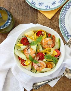 Zucchini Ribbon Salad with Roasted Corn, Shrimp and Citrus-Ginger ...