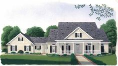 Country Style House Plans - 1990 Square Foot Home , 1 Story, 3 Bedroom and 2 Bath, 2 Garage Stalls by Monster House Plans - Plan 58-163