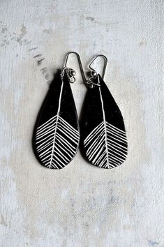 polymer Clay earrings, fimo earrings, masa flexible, cold porcelain, masa francesa, porcelana fria, porcellana freda, black and white